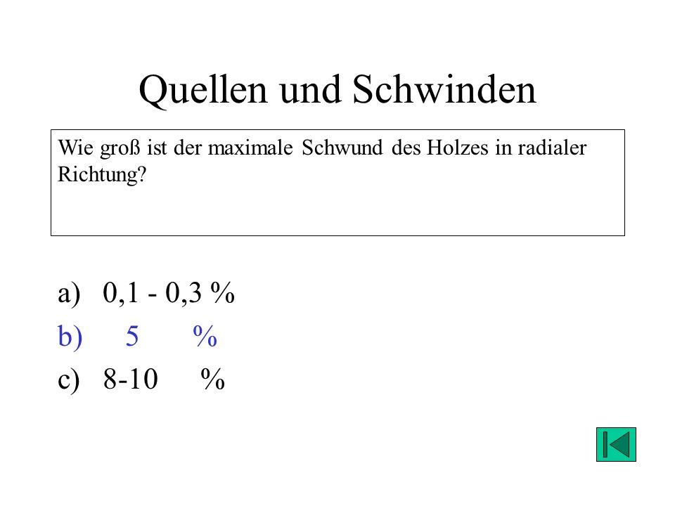Quellen und Schwinden 0,1 - 0,3 % 5 % 8-10 %