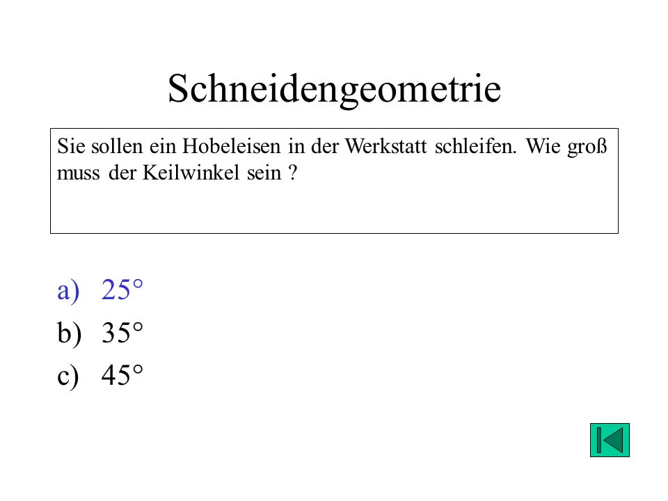 Schneidengeometrie 25° 35° 45°