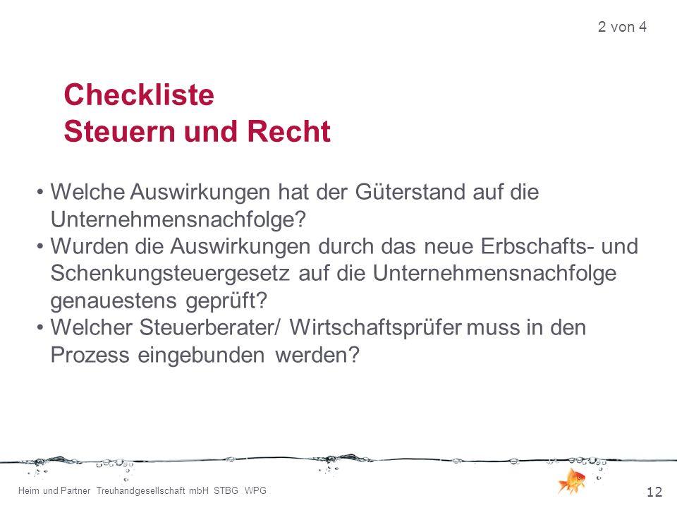 Checkliste Steuern und Recht