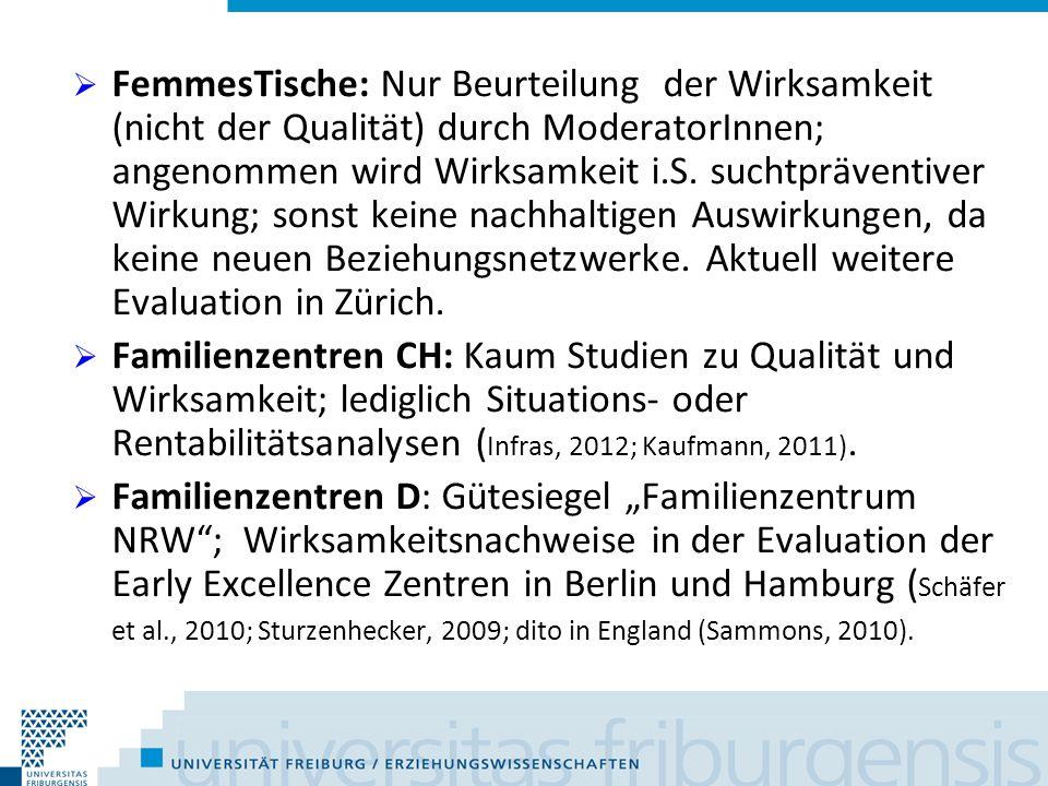 FemmesTische: Nur Beurteilung der Wirksamkeit (nicht der Qualität) durch ModeratorInnen; angenommen wird Wirksamkeit i.S. suchtpräventiver Wirkung; sonst keine nachhaltigen Auswirkungen, da keine neuen Beziehungsnetzwerke. Aktuell weitere Evaluation in Zürich.