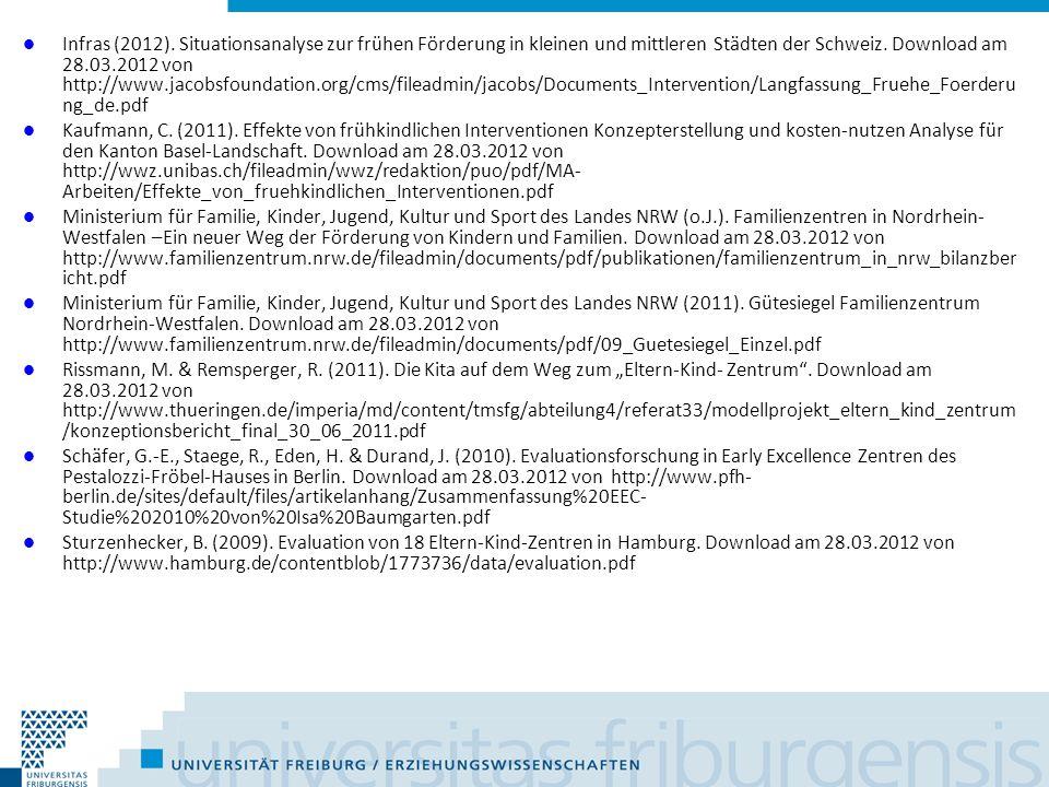 Infras (2012). Situationsanalyse zur frühen Förderung in kleinen und mittleren Städten der Schweiz. Download am 28.03.2012 von http://www.jacobsfoundation.org/cms/fileadmin/jacobs/Documents_Intervention/Langfassung_Fruehe_Foerderung_de.pdf