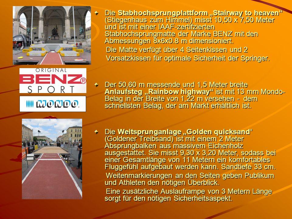 """Die Stabhochsprungplattform """"Stairway to heaven (Stiegenhaus zum Himmel) misst 10,50 x 7,50 Meter und ist mit einer IAAF-zertifzierten Stabhochsprungmatte der Marke BENZ mit den Abmessungen 8x6x0.8 m dimensioniert."""