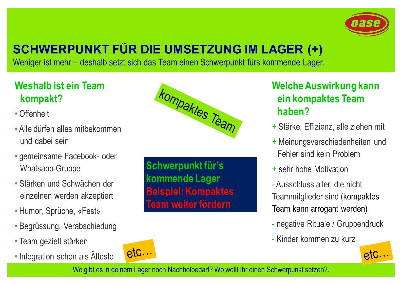 kompaktes Team etc… etc… SCHWERPUNKT FÜR DIE UMSETZUNG IM LAGER (+)