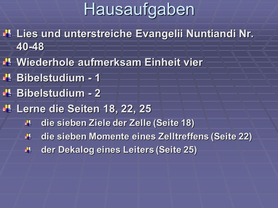 Hausaufgaben Lies und unterstreiche Evangelii Nuntiandi Nr. 40-48