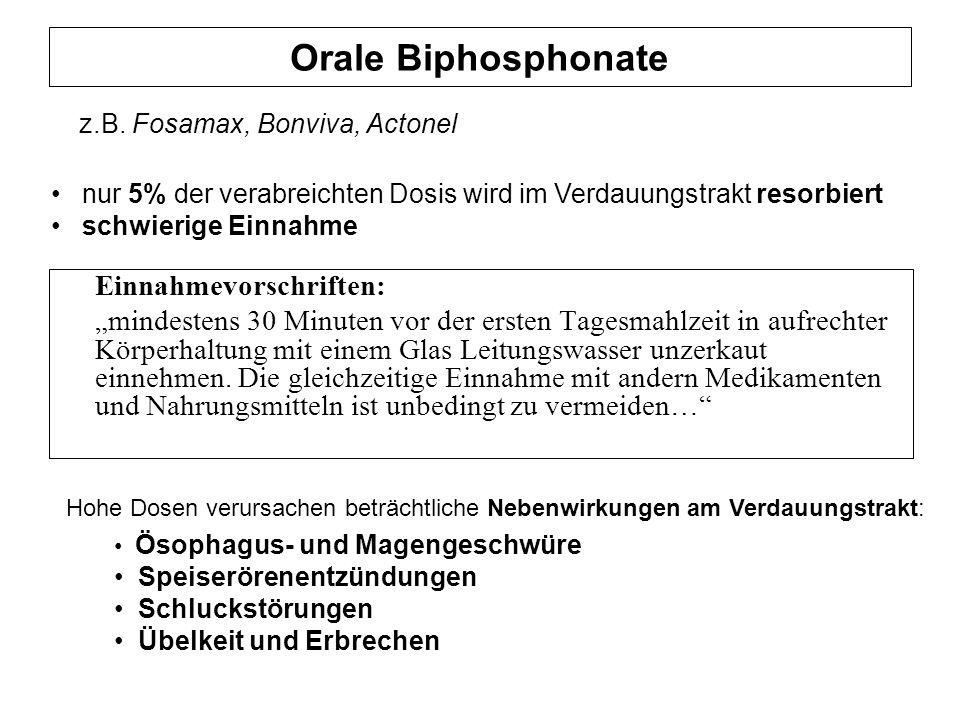 Orale Biphosphonate z.B. Fosamax, Bonviva, Actonel