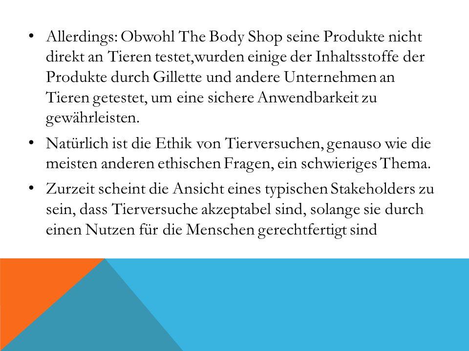 Allerdings: Obwohl The Body Shop seine Produkte nicht direkt an Tieren testet,wurden einige der Inhaltsstoffe der Produkte durch Gillette und andere Unternehmen an Tieren getestet, um eine sichere Anwendbarkeit zu gewährleisten.