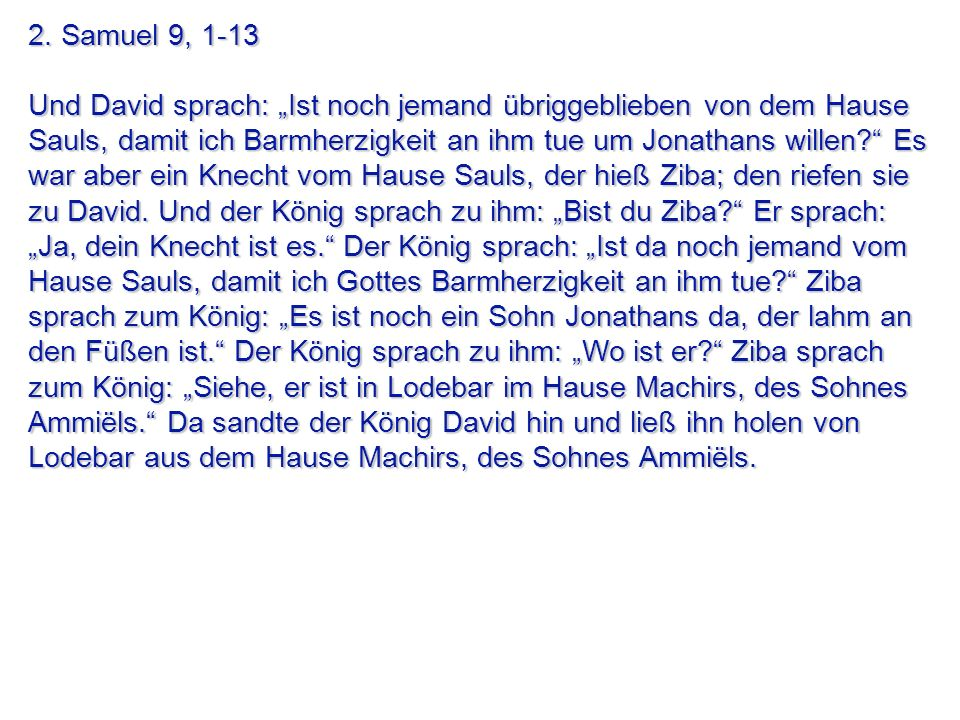 2. Samuel 9, 1-13