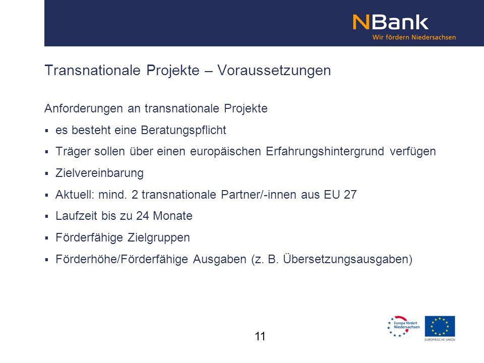 Transnationale Projekte – Voraussetzungen