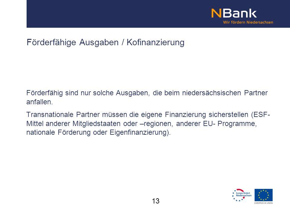 Förderfähige Ausgaben / Kofinanzierung