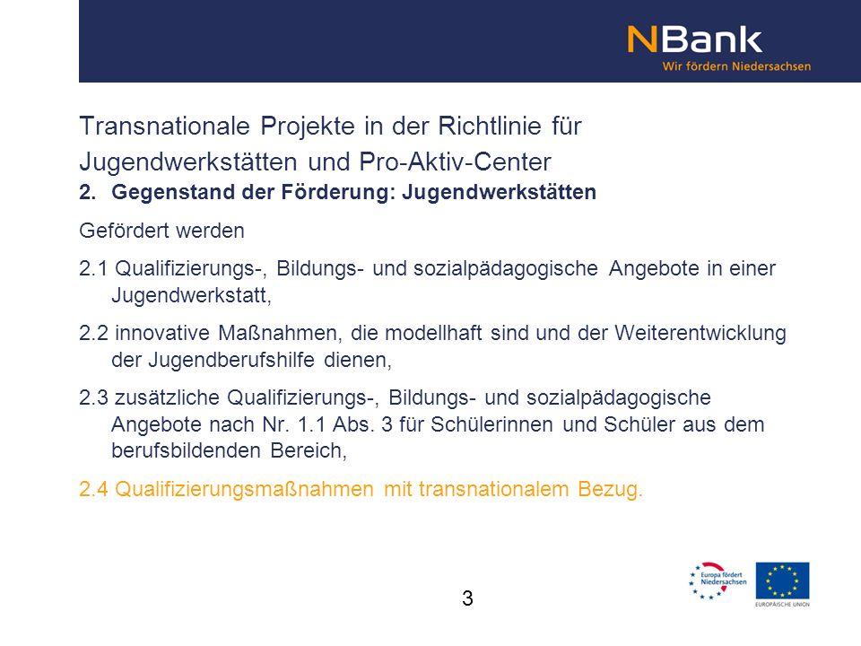 Transnationale Projekte in der Richtlinie für Jugendwerkstätten und Pro-Aktiv-Center
