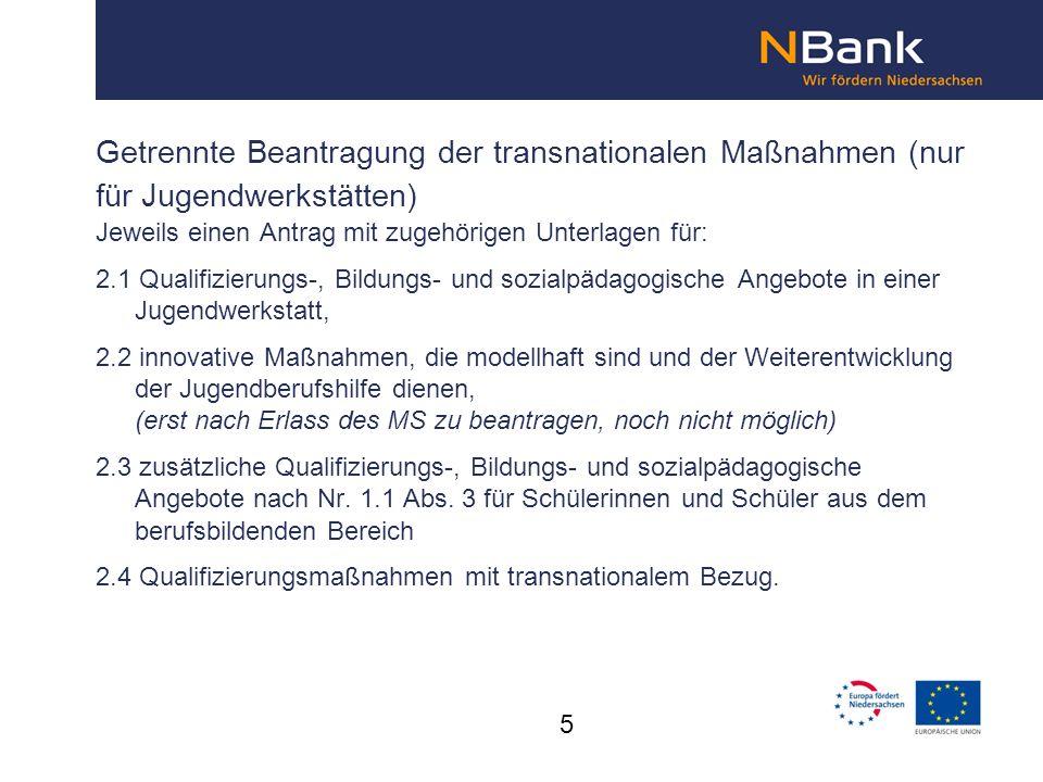 Getrennte Beantragung der transnationalen Maßnahmen (nur für Jugendwerkstätten)