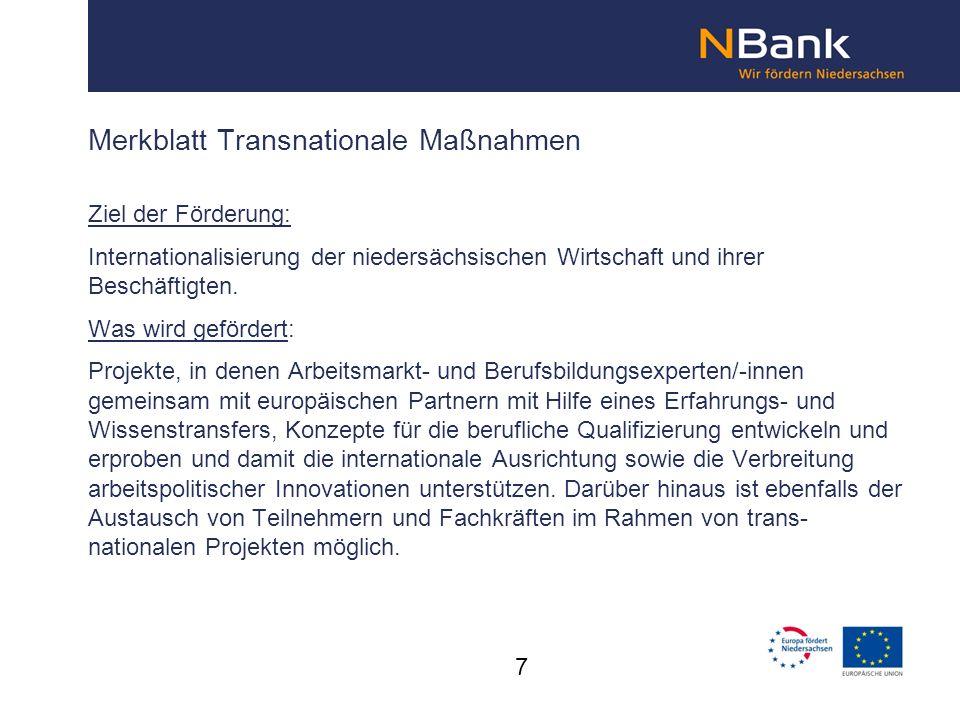 Merkblatt Transnationale Maßnahmen