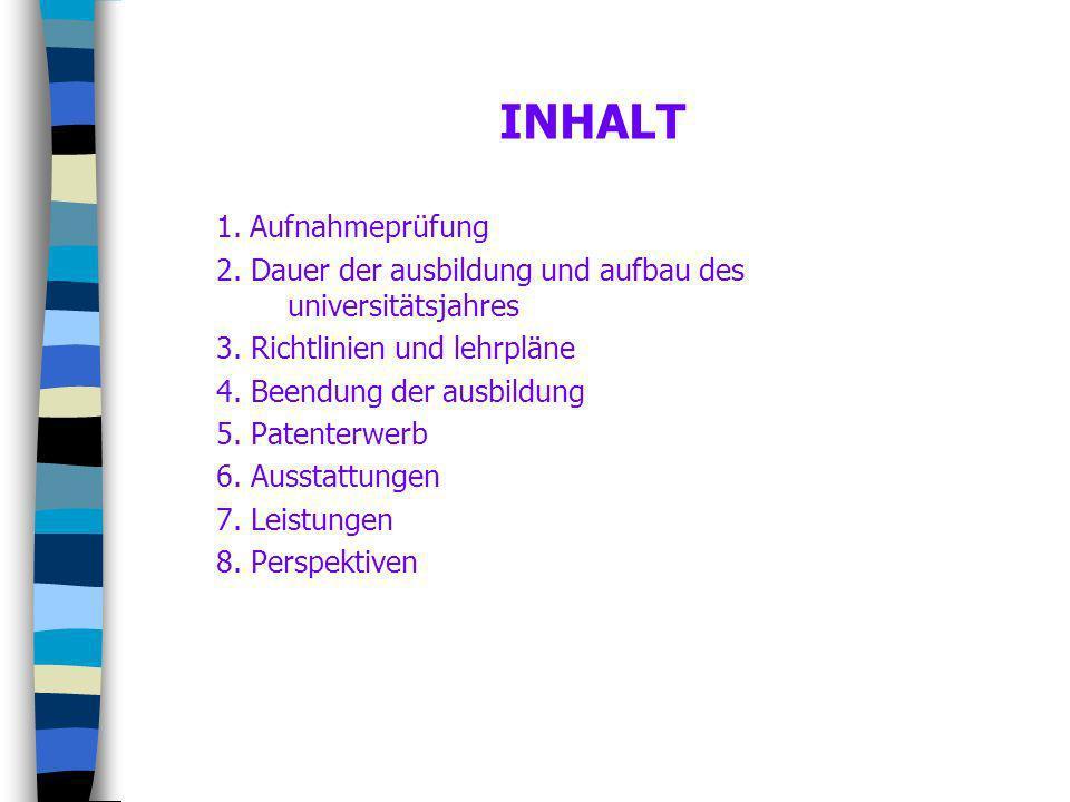 INHALT 1. Aufnahmeprüfung