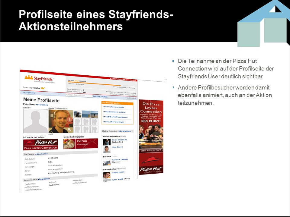 Profilseite eines Stayfriends-Aktionsteilnehmers