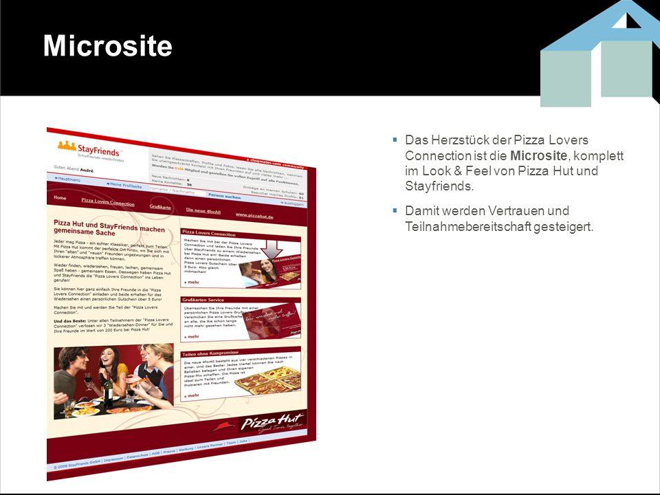 Microsite Das Herzstück der Pizza Lovers Connection ist die Microsite, komplett im Look & Feel von Pizza Hut und Stayfriends.