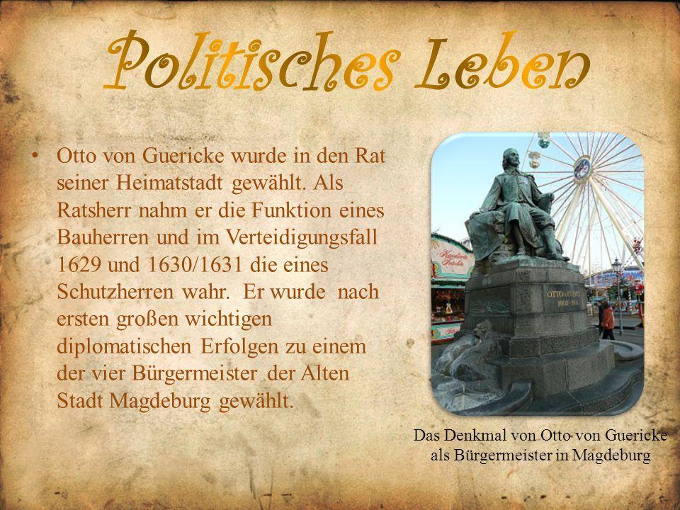 Das Denkmal von Otto von Guericke als Bürgermeister in Magdeburg