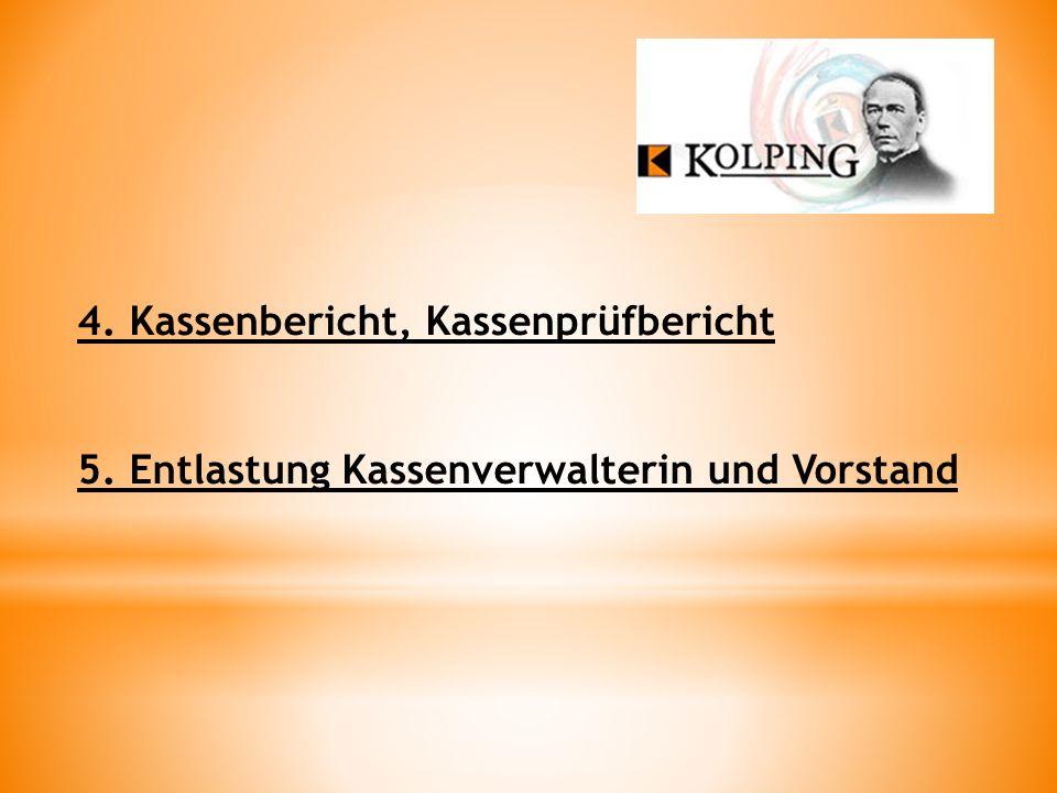 4. Kassenbericht, Kassenprüfbericht