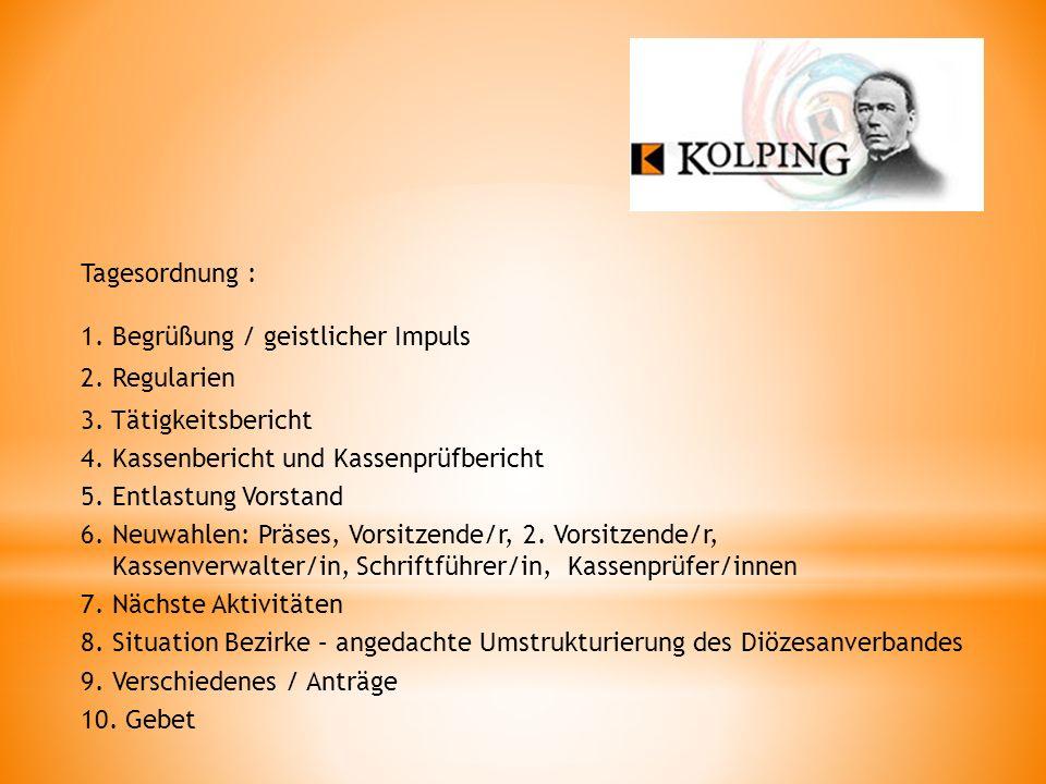 Tagesordnung : 1. Begrüßung / geistlicher Impuls. 2. Regularien. 3. Tätigkeitsbericht. 4. Kassenbericht und Kassenprüfbericht.