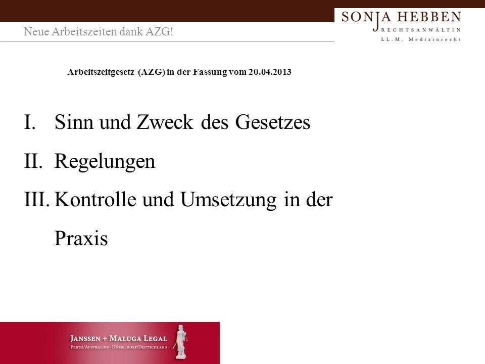Arbeitszeitgesetz (AZG) in der Fassung vom 20.04.2013