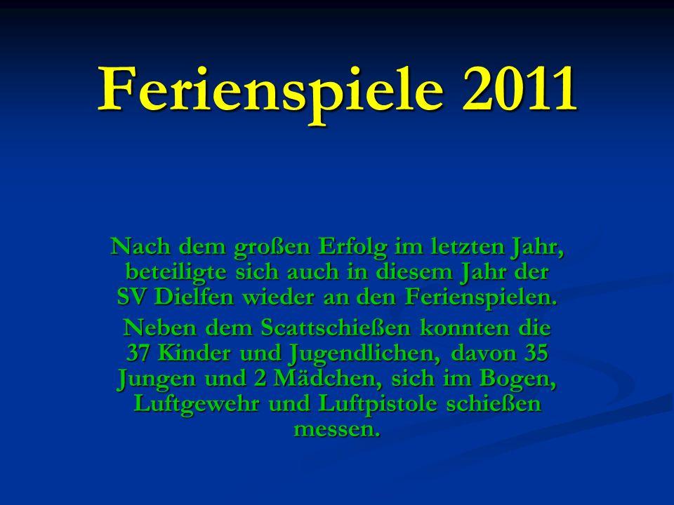Ferienspiele 2011 Nach dem großen Erfolg im letzten Jahr, beteiligte sich auch in diesem Jahr der SV Dielfen wieder an den Ferienspielen.