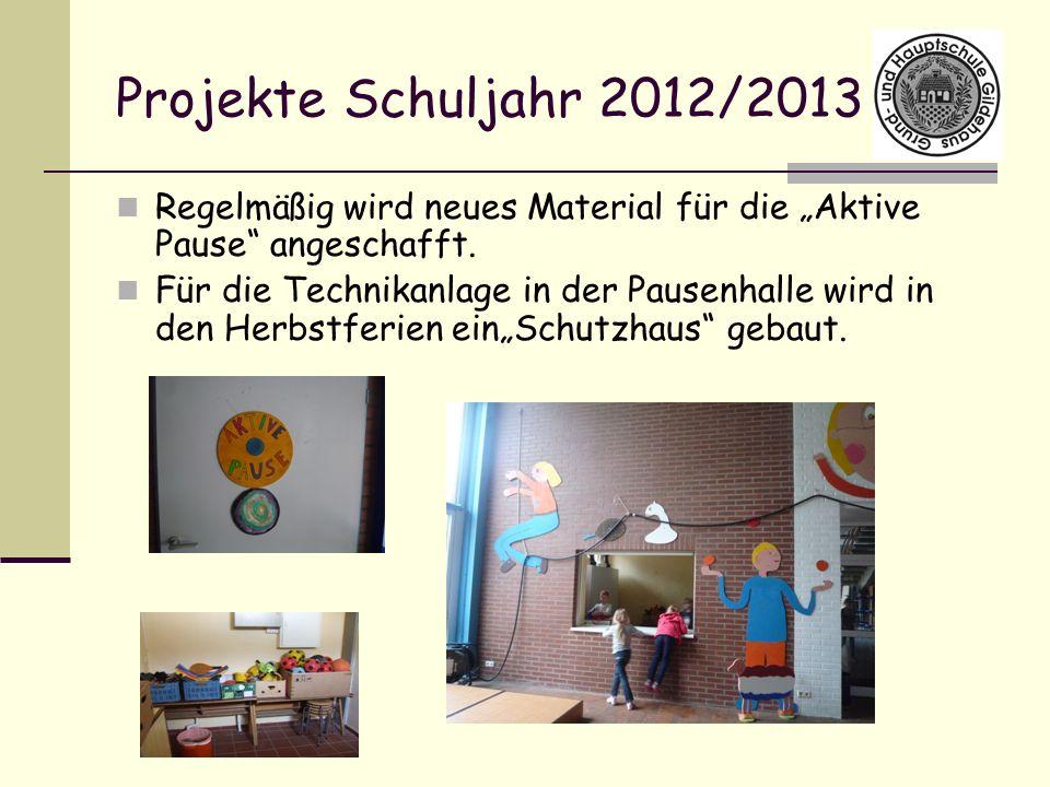 """Projekte Schuljahr 2012/2013 Regelmäßig wird neues Material für die """"Aktive Pause angeschafft."""