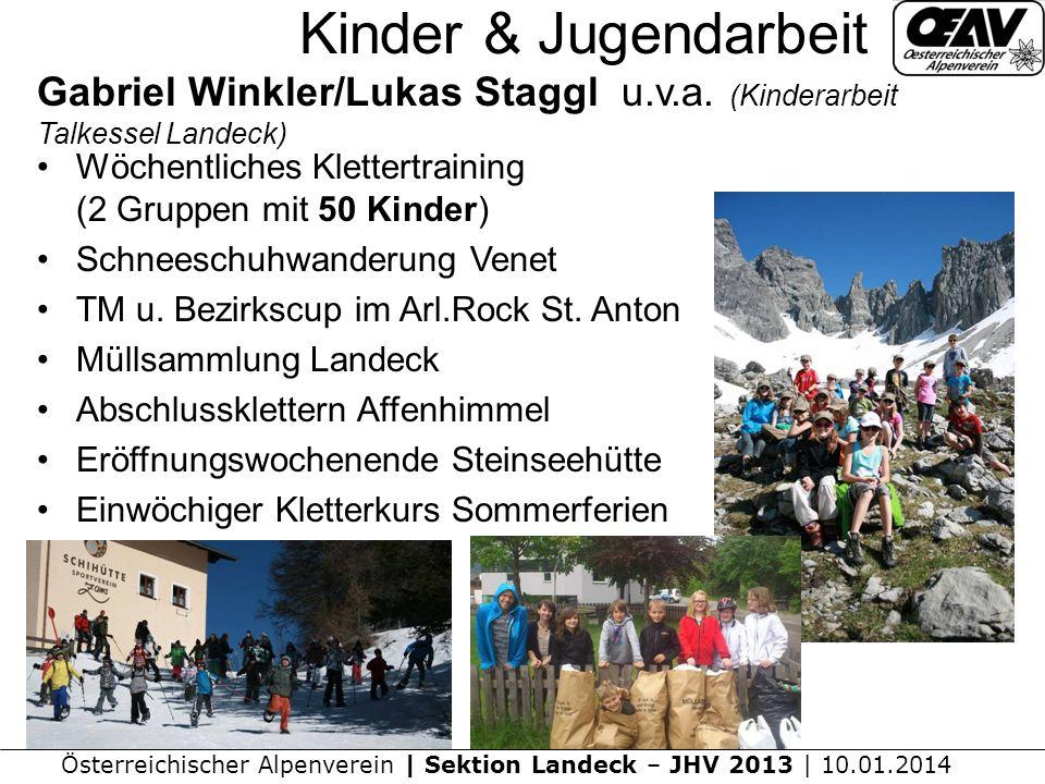 Kinder & Jugendarbeit Gabriel Winkler/Lukas Staggl u.v.a. (Kinderarbeit Talkessel Landeck) Wöchentliches Klettertraining (2 Gruppen mit 50 Kinder)