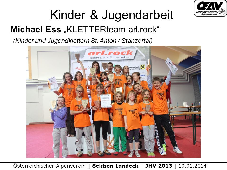 "Kinder & Jugendarbeit Michael Ess ""KLETTERteam arl.rock (Kinder und Jugendklettern St."