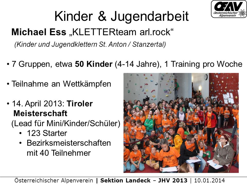"Kinder & Jugendarbeit Michael Ess ""KLETTERteam arl.rock (Kinder und Jugendklettern St. Anton / Stanzertal)"