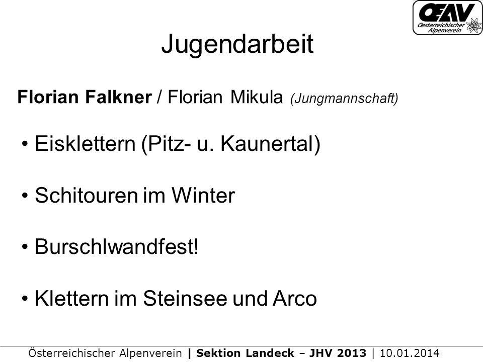Jugendarbeit Eisklettern (Pitz- u. Kaunertal) Schitouren im Winter