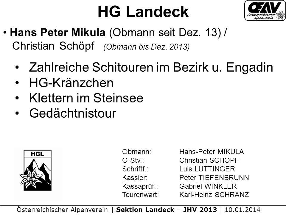 HG Landeck Zahlreiche Schitouren im Bezirk u. Engadin HG-Kränzchen