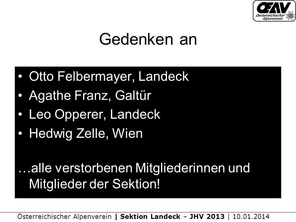 Gedenken an Otto Felbermayer, Landeck Agathe Franz, Galtür