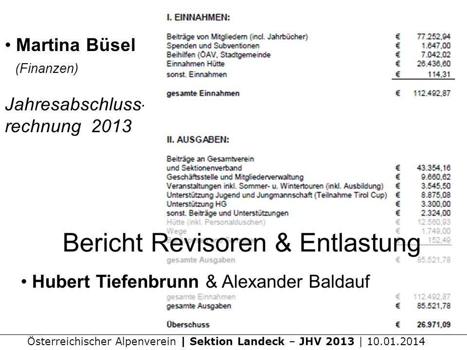 Martina Büsel (Finanzen) Jahresabschluss- rechnung 2013