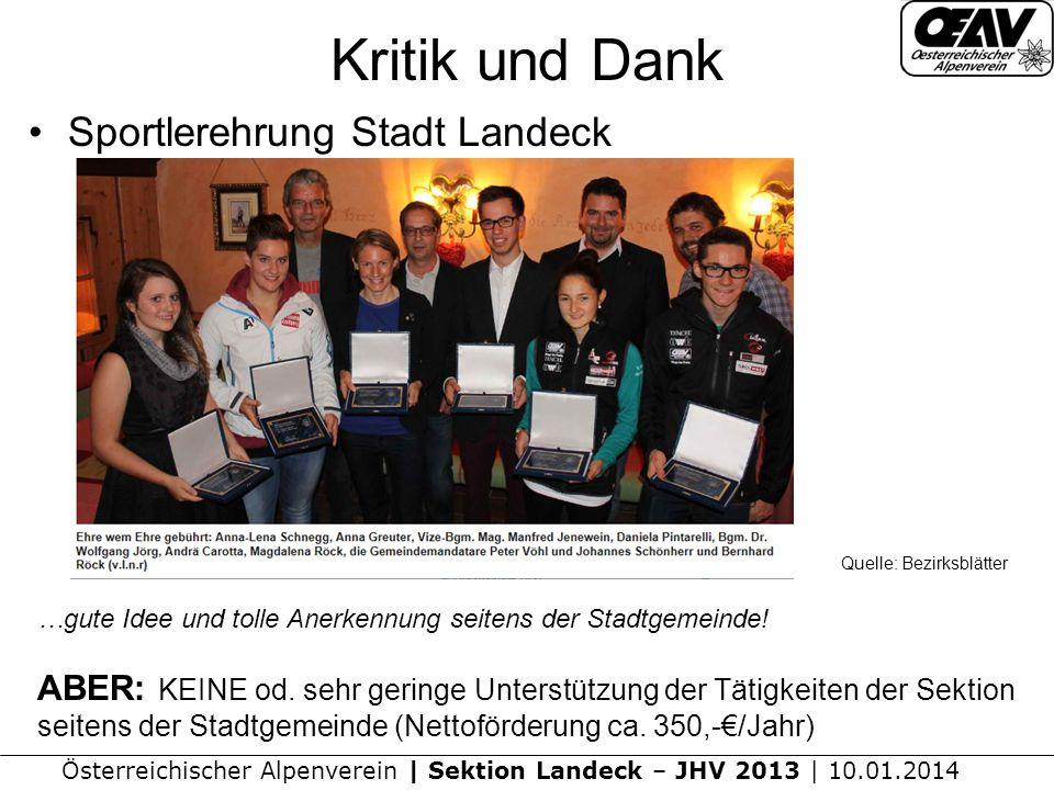 Kritik und Dank Sportlerehrung Stadt Landeck