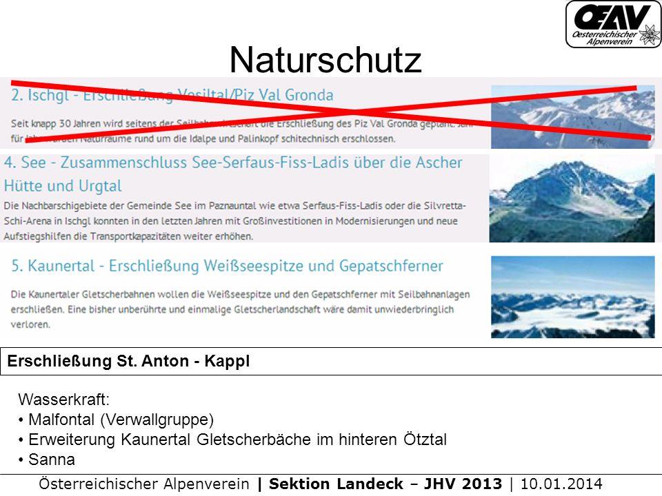 Naturschutz Erschließung St. Anton - Kappl Wasserkraft: