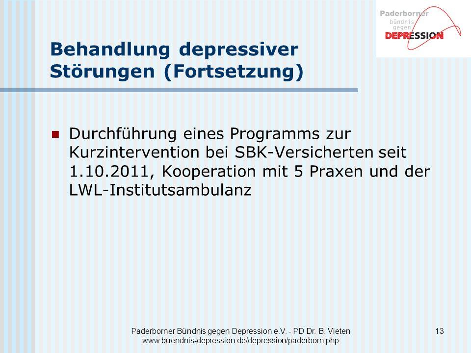 Behandlung depressiver Störungen (Fortsetzung)