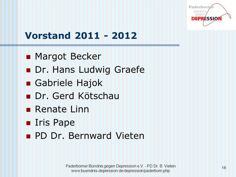 Vorstand 2011 - 2012 Margot Becker Dr. Hans Ludwig Graefe
