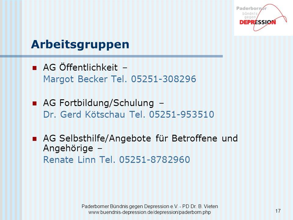 Arbeitsgruppen AG Öffentlichkeit – Margot Becker Tel. 05251-308296