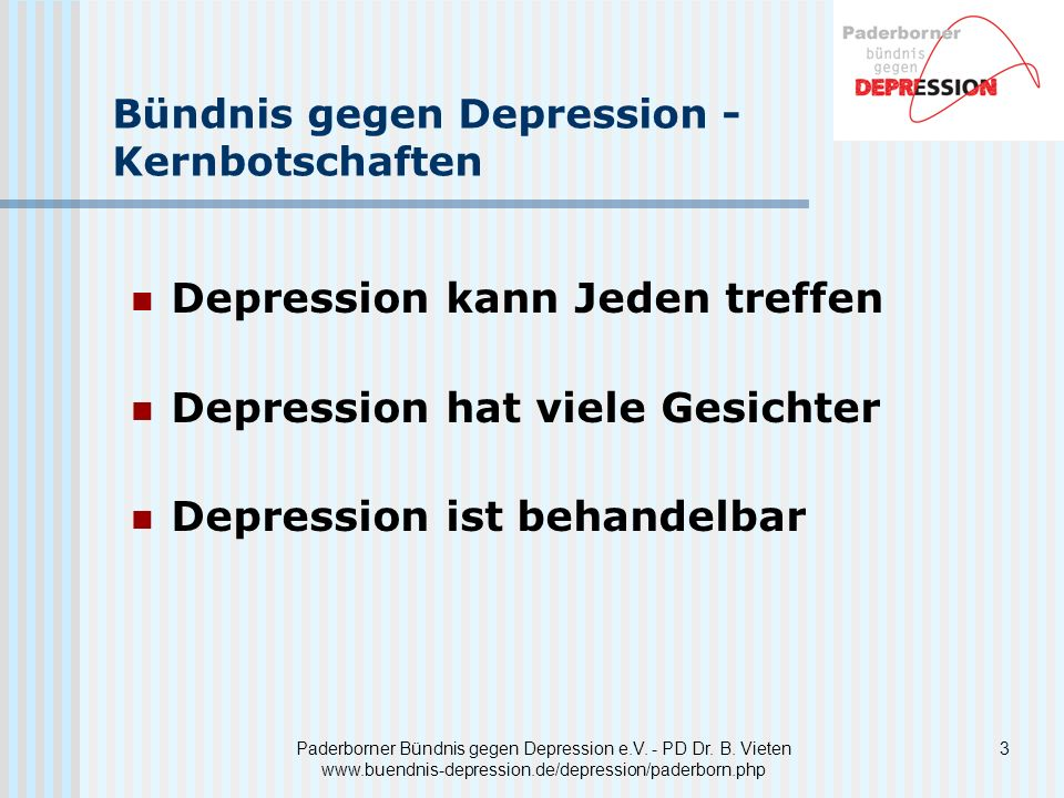 Bündnis gegen Depression - Kernbotschaften