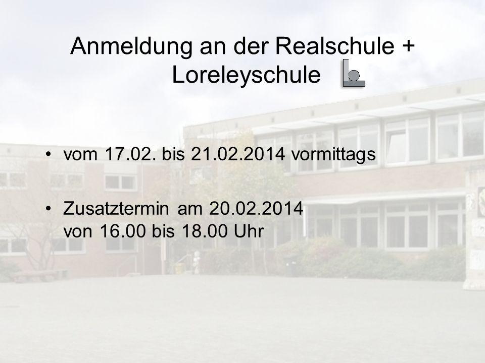 Anmeldung an der Realschule + Loreleyschule