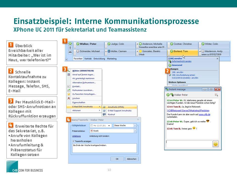 Einsatzbeispiel: Interne Kommunikationsprozesse XPhone UC 2011 für Sekretariat und Teamassistenz
