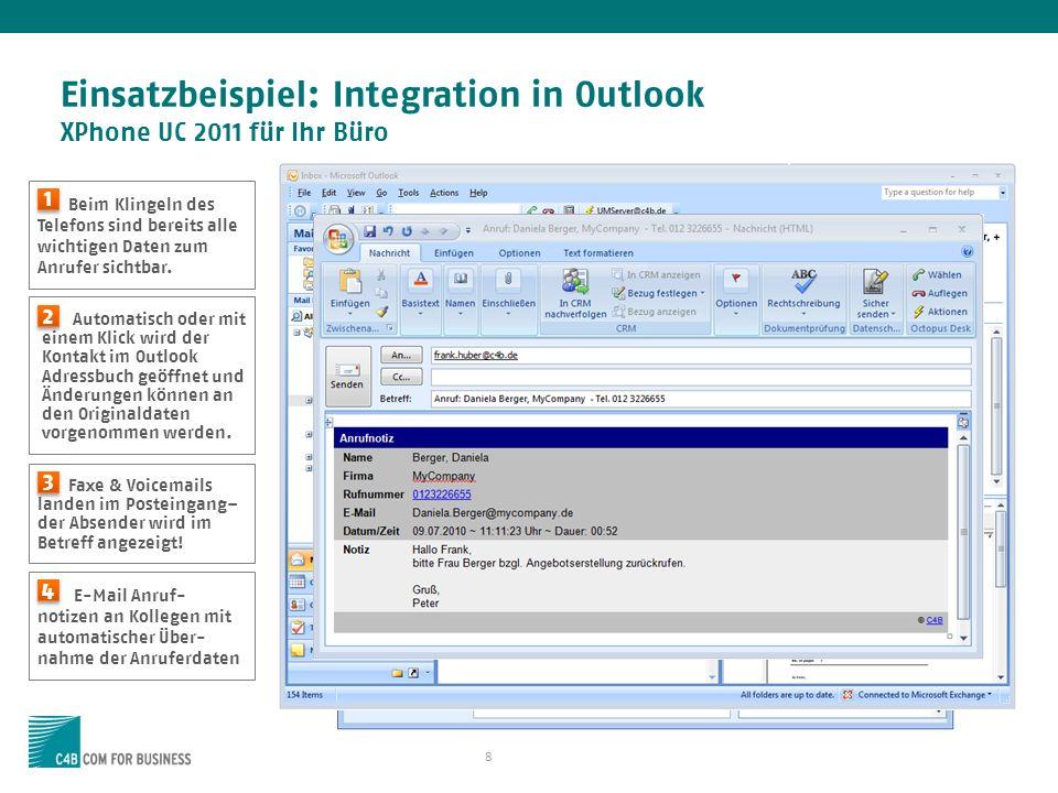 Einsatzbeispiel: Integration in Outlook XPhone UC 2011 für Ihr Büro