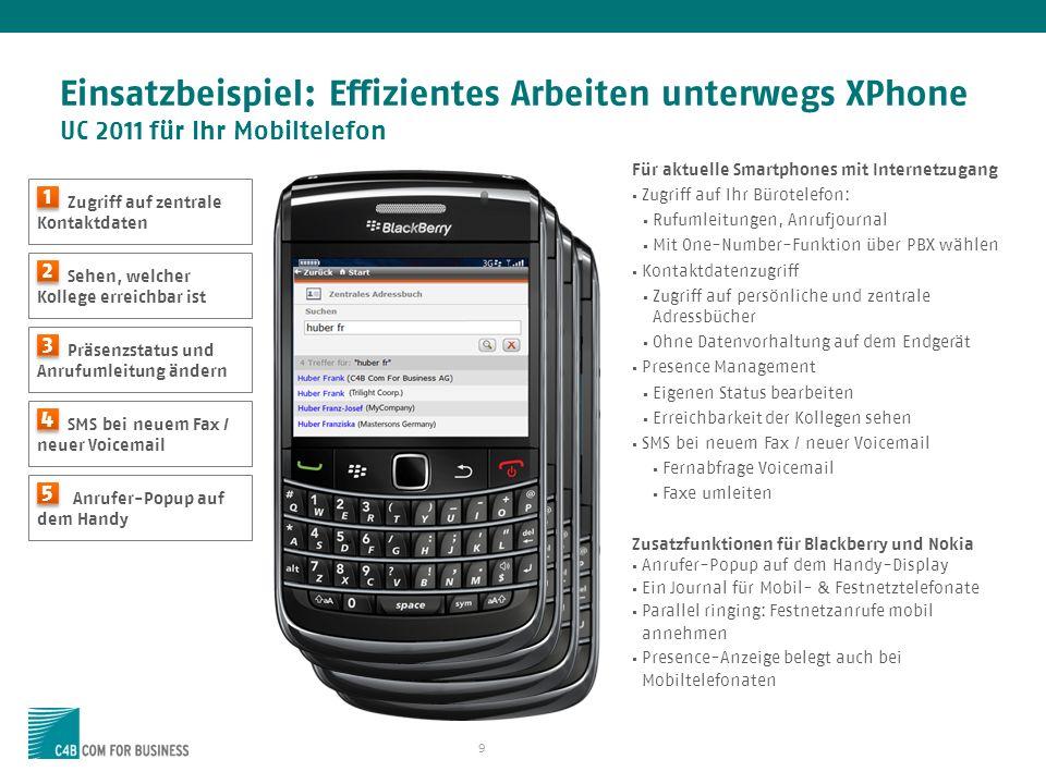 Einsatzbeispiel: Effizientes Arbeiten unterwegs XPhone UC 2011 für Ihr Mobiltelefon