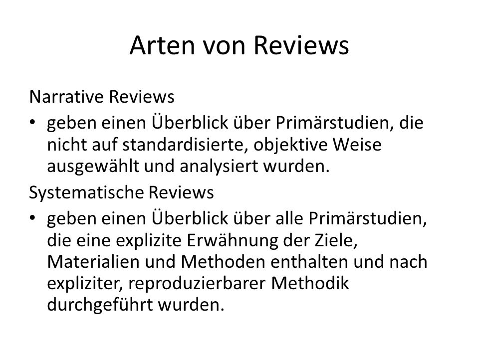 Arten von Reviews Narrative Reviews