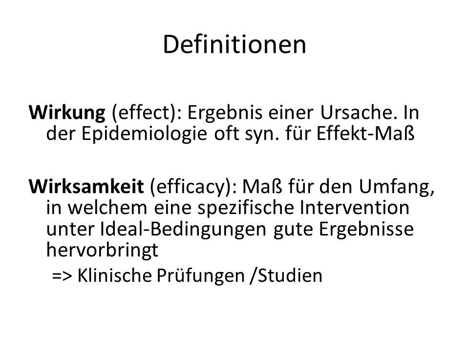 Definitionen Wirkung (effect): Ergebnis einer Ursache. In der Epidemiologie oft syn. für Effekt-Maß.
