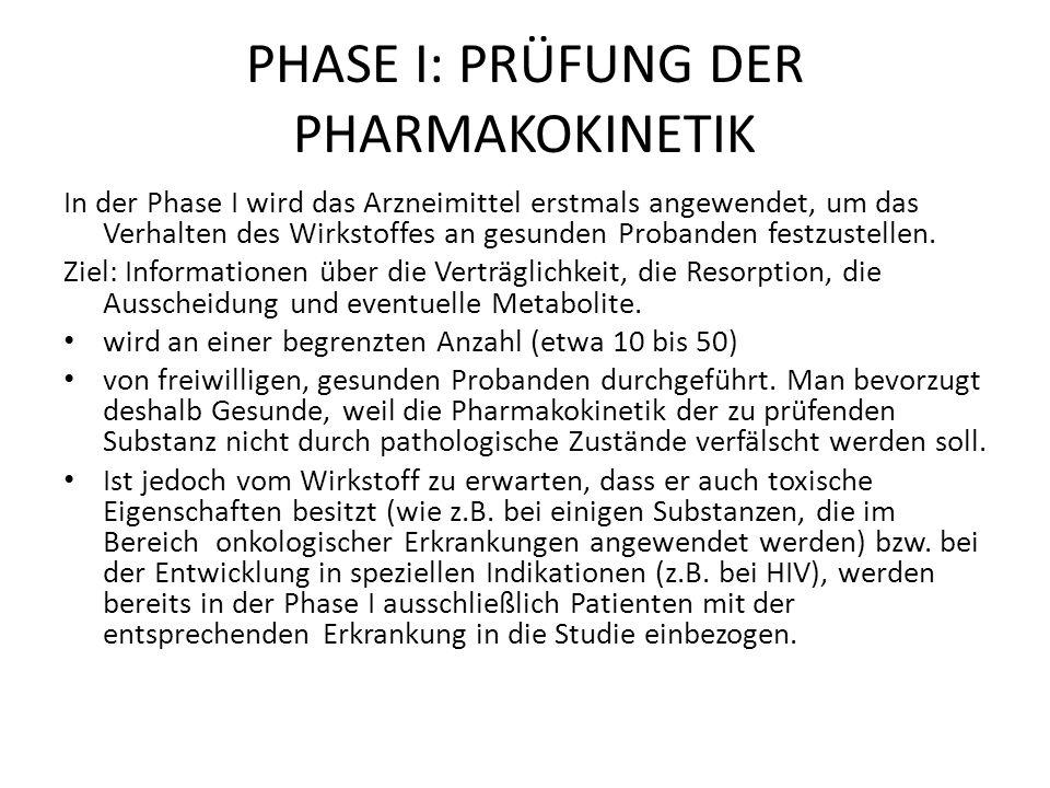 PHASE I: PRÜFUNG DER PHARMAKOKINETIK