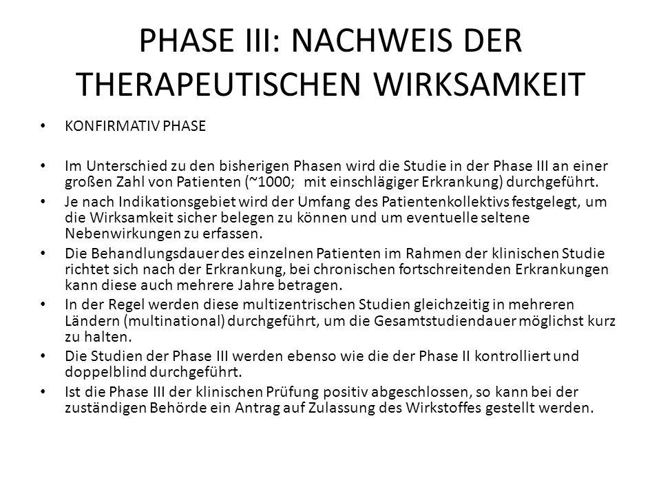 PHASE III: NACHWEIS DER THERAPEUTISCHEN WIRKSAMKEIT