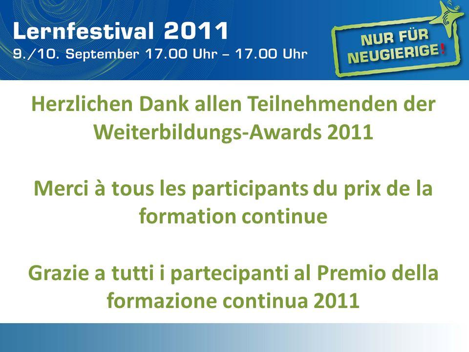 Herzlichen Dank allen Teilnehmenden der Weiterbildungs-Awards 2011