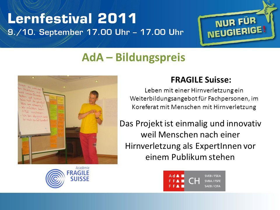 AdA – Bildungspreis FRAGILE Suisse: