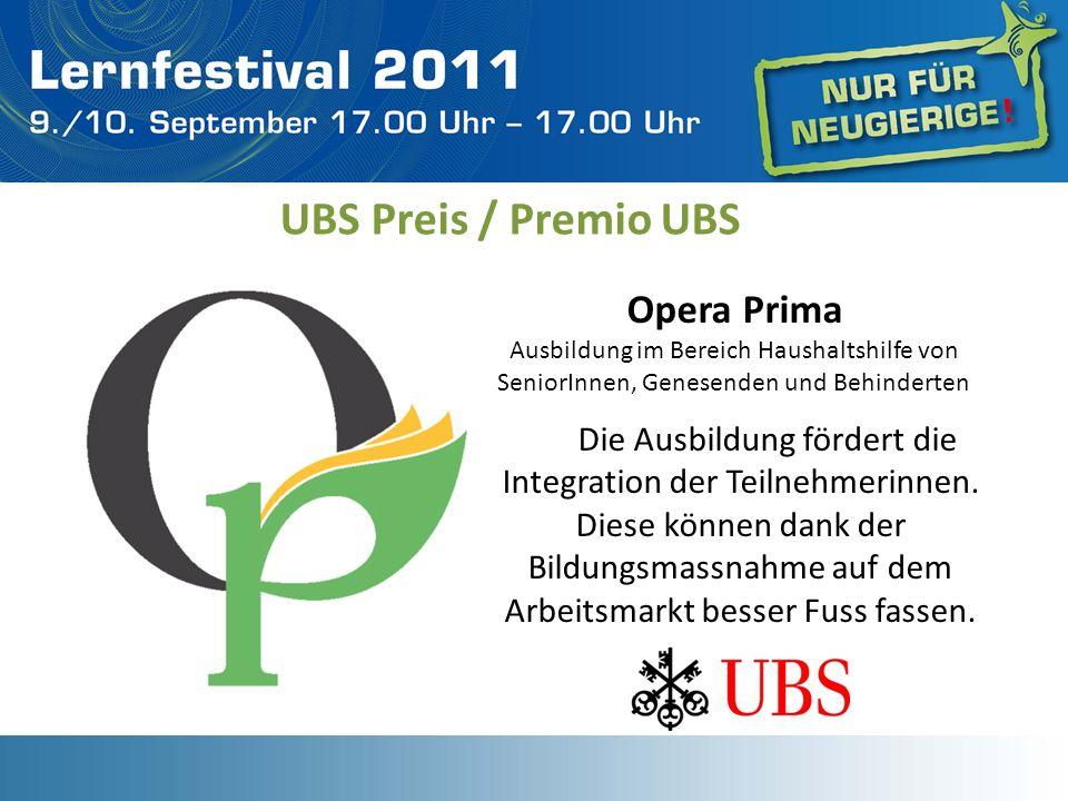 UBS Preis / Premio UBS Opera Prima