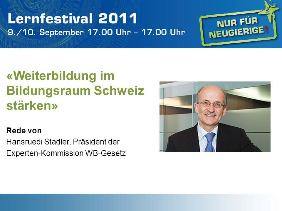 «Weiterbildung im Bildungsraum Schweiz stärken»